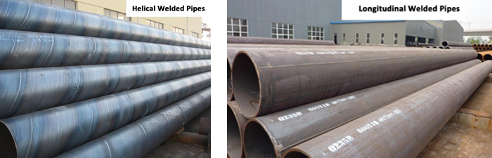 helical welded pipes and longitudinal welded pipes